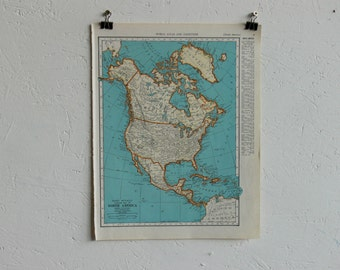 Vintage Map-North America-Early 20th Century