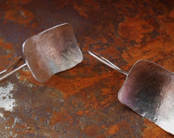 Geometric Square Domed Sterling Silver Earrings