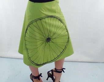 Bicycle Art Skirt - Aline Cotton Skirt - Silk Screen Printed to Order