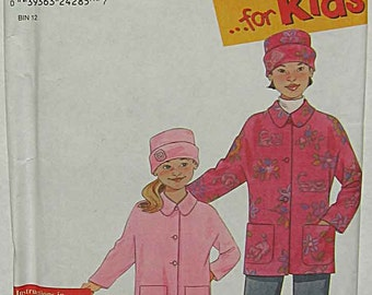 Child's, Girl's Easy to Sew Jacket and Matching Hat, Simplicity 9395 Sewing Pattern UNCUT Sizes 3-12