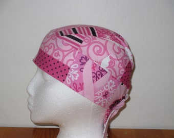 Handmade Pink Chemo or Skull Cap with Cancer Ribbons, Designs, Words like HOPE, LOVE, Hats, Motorcycle, Hair Loss, Do Rag, Bandana, Surgical