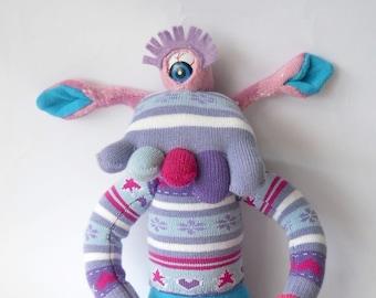 sock monster, sock doll, monster doll, sock creature, cyclops monster, purple monster, plush monster