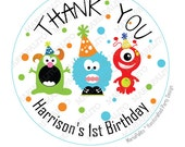 Monster Birthday, Party Personalized Thank you Birthday PRINTED round Stickers, tags, Labels or Envelope Seals , Monster Birthday A658