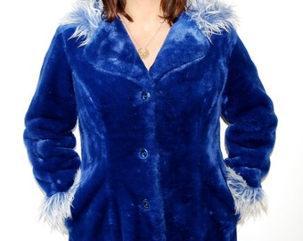 vintage 90s blue fuzzy faux fur coat with hood
