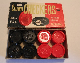 Crown Checkers 1960 24 Plastic Checkers with box Whitman Made in ther USA