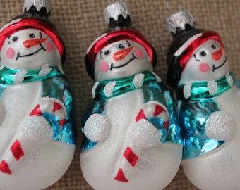 Three Snowmen Ornaments
