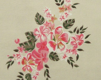 Cotton Fabric By The Yard - Pink and Green Floral Print on Beige - 1 yard - ctnp215