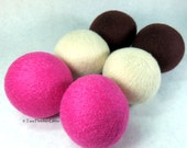 Wool Dryer Balls - Pink & Brown - Set of 6 Eco Friendly - Can be Scented or Unscented