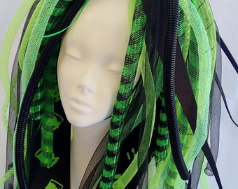 Cyberlox Neon Green and Black Full Length Toxic Sludge Cybergoth Cyberpunk Dread Falls Synth Cyber Punk Goth Lime UV reactive Glow