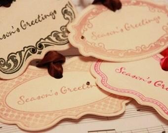 Christmas Tags (Doubled Layered) - Season Greetings Assortment- Handmade Vintage Inspired Christmas Gift Tags - - Vintage Tags - Set of 8