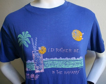 1986 I'd rather be in the Bahamas summer beach tropical drinking worn in ultra soft 50/50 unisex t-shirt - men's sz M/L