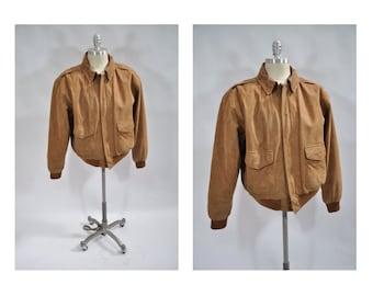 vintage leather jacket  A-2 bomber flight jacket 1980s a2 large