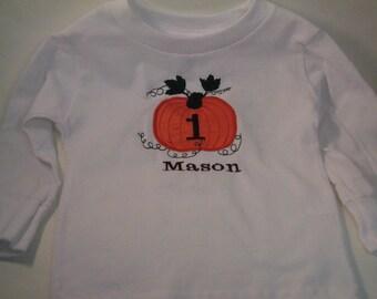 Short or Long Sleeve, Pumpkin Shirt, Children Clothing,Birthday Party Shirt, First Birthday Party