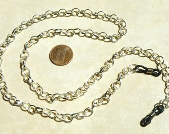 Eyeglass, Chain, Shiny Oval, Metal, mens, light weight, silver plated,  25.6 Inch