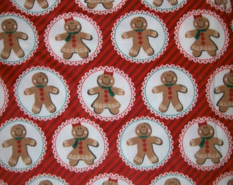 An Adorable Gingerbread Man And Woman Christmas Holiday Fleece Fabric By The Yard Free US Shipping