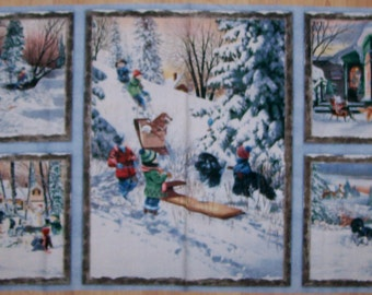 A Wonderful Winters Gleam Snow Sleighing Cotton Fabric Panel Free US Shipping