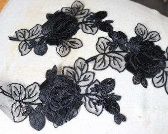 Cute embroidered organza flower applique black color  3  pieces listing  6 inches long 3 1/2 inches wide at the center