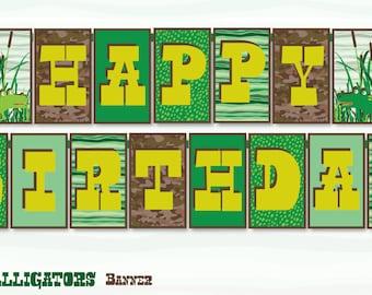 Alligator Gator Printable Party Happy Birthday Banner