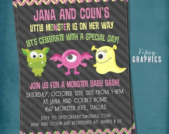 Girly Monster Baby Bash. Baby Shower or Birthday Party Invitation.  Printable File by Tipsy Graphics