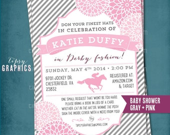 Kentucky Derby Baby Shower Invitation. Stripes and Mums.  Any text or Colors by Tipsy Graphics