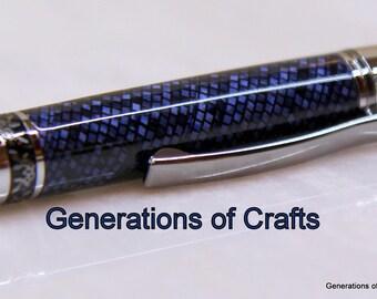 Handmade Pen - Blue Lizard Vintage 1930's Material - Cellulose Acetate - Unique Gift ** ** BP 002 **