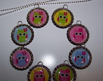 Polka Dot Owl Party Favors / Owl Bottle Cap Necklaces / Girls Party Favors