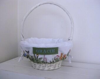Small Easter Basket Liner -- Peter Rabbit -- Free Monogram --