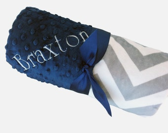 Stroller Size- Personalized Baby Blanket Gray and White Minky Chevron Baby Blanket with Navy Dot Minky Back Stroller Size