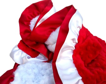 Christmas Blanket Red and White Minky Blanket with double ruffle