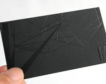 100 Business Cards - black foil - 14PT black matte stock -  custom printed