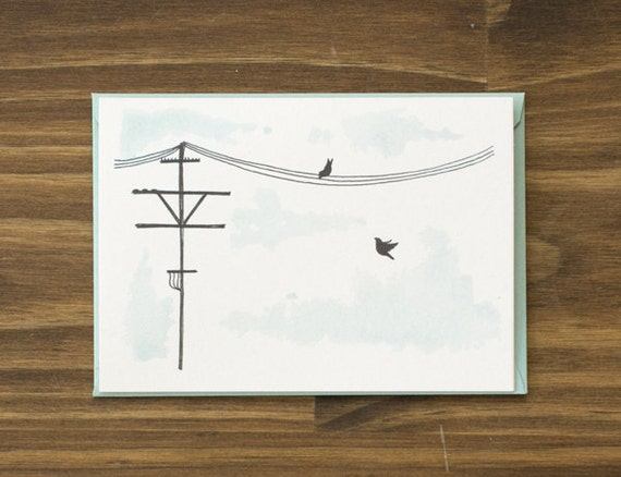 telephone line and birds aqua blue blank note card