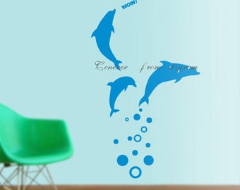 Sealife dolphins----Removable Graphic Art wall decals stickers home decor