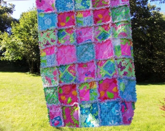 Lilly Pulitzer Little Girl or Toddler rag quilt Bonjour Butterflies Junk in Trunk Beach Patch Worth Ave