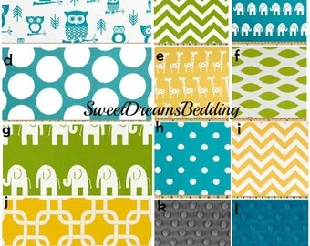 Custom Crib Bedding You Design   Bumper and Bedskirt in Turquoise,Yellow and Lime Green
