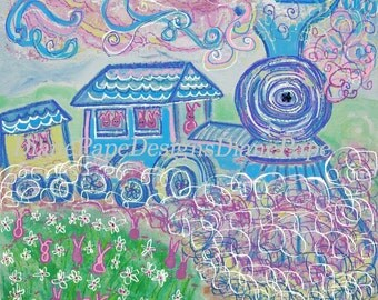 The Bunny Train Blank Note Card - Birth Announcement, Baby Shower, Bunnies, Babies, Whimsical, Nursery, Small Art Print, Kids, Choo Choo