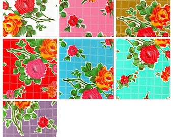 OilclothByTheYard   Rose and Grid  Your Choice of Color