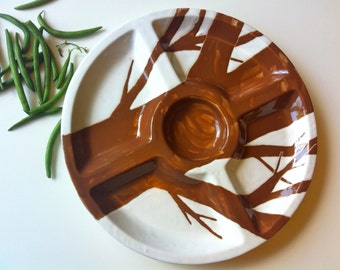 """Large Brown and white """"twiggy"""" ceramic tree vegetable and serving platter, tray"""