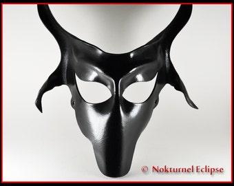 Black Baphomet Goat Leather Mask Left Hand Path Satanic Art Devil Lucifer Halloween Creepy Cosplay Costume Masquerade Fetish Ball UNISEX