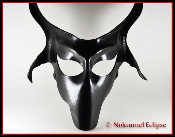Black Baphomet Goat Leather Mask by Nokturnel Eclipse Satanic Art Devil Lucifer Halloween Creepy Costume Masquerade Fetish Ball UNISEX