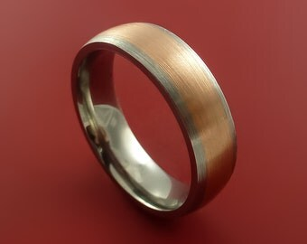 Rose Gold and Titanium Wide Band Any Finish and Sizing His or Hers from 3-22