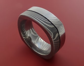 Damascus Steel Square Band Wood Weave Grain Pattern Ring Any Sizing from 3-22 Zebra look