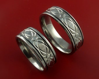 Titanium Celtic Knot Ring Set Custom Bands Made to Any Size 3 to 22 Black Inlay