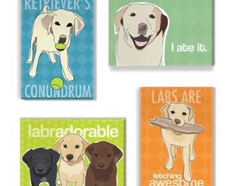 Labrador Retriever Gift Magnet Set - Yellow Lab Magnets