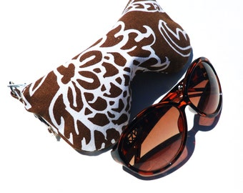 Brown White Sun Glasses Case. Eyeglass Case. Eyeglass Pouch. Reading Glasses Case Curves Eyeglasses Pouch