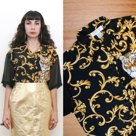 Vintage 80s 90s Animal/Baroque Print Blouse With Sheer Sleeves Large On hold for Yoonz Ha