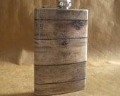 Old Barnwood Print Groomsmen or Guy Country Western Rustic Wedding Gift  8 ounce Stainless Steel Flask KR2D 6811