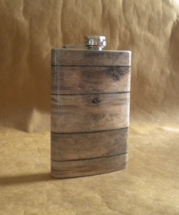 Old Barnwood Print Groomsmen or Guy Country Western Rustic Wedding Gift  8 ounce Stainless Steel Flask KR2D 6811