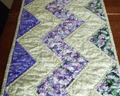 Purple and Mint Floral Zig Zag Summer Table Runner