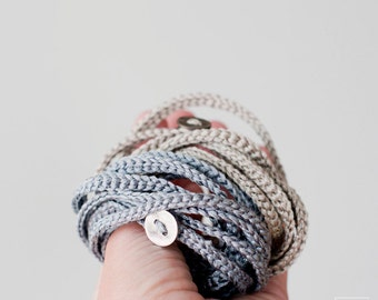 Crochet wrap Bracelet and Necklace in one piece. Set of two. Silver a Gold color.  Wrapped bracelet. Wool Jewelry. Eco-Friendly Jewelry.