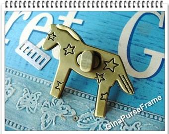 Purse Lock Horse-shape for handmade purse bag box wallet closure (polished antique brass color)-1set (purse metal frame)